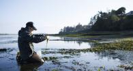 photo of Caitlin Magel examining eelgrass at low tide