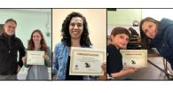 composite photo of Mike Blouin and Katie Dziedzic, Rebecca Mostow, Rebecca Terry and son